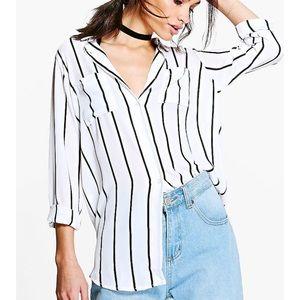 Boohoo white and black stripe blouse